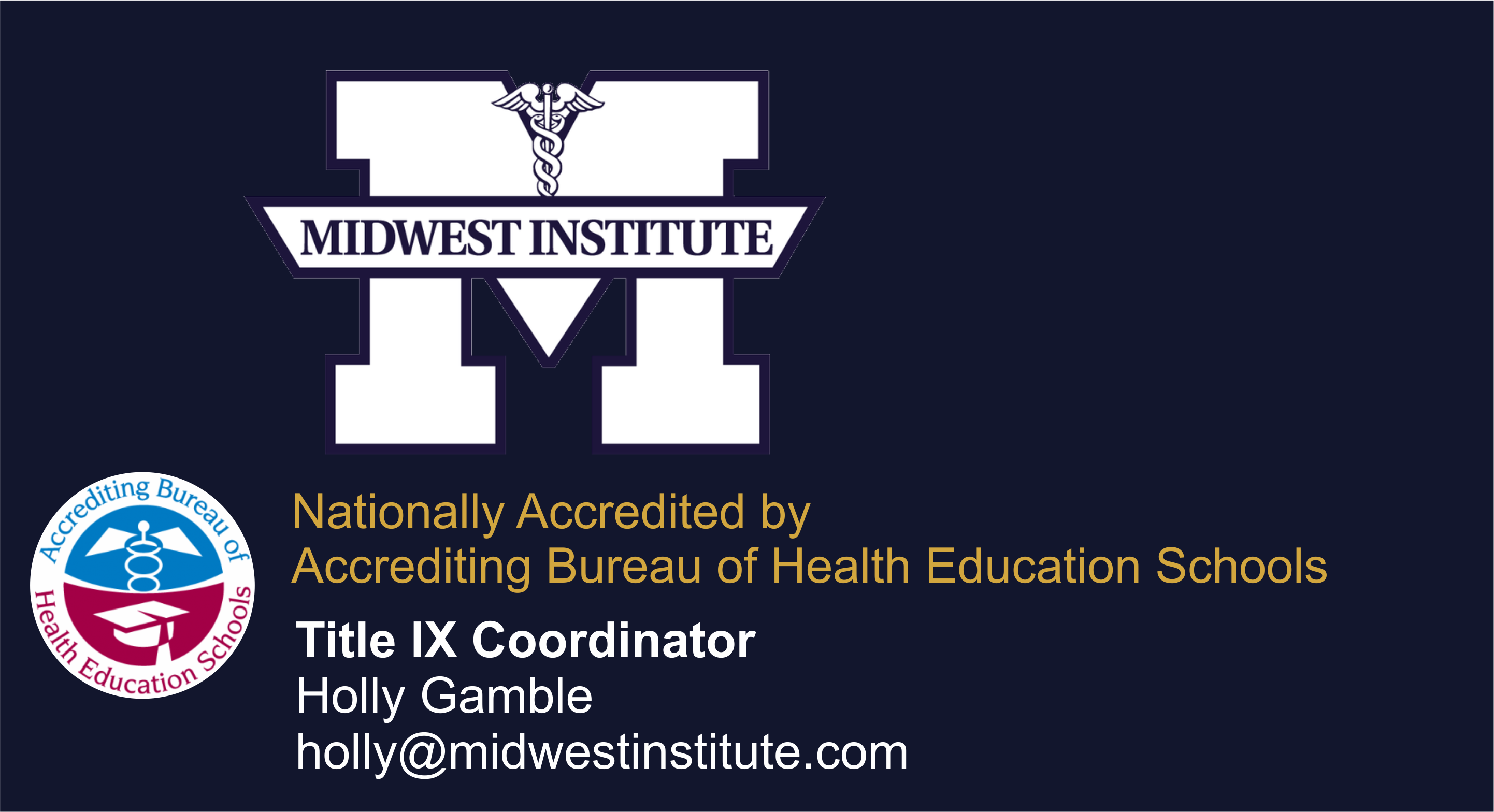 Midwest Institute Logo and Title IX Coordinator Contact